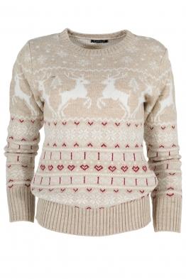 Дамски пуловер Christmas А-13 бежов