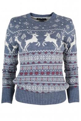 Дамски пуловер Christmas А-13 син