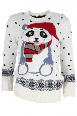 Дамски пуловер Christmas А-14 бял