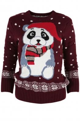 Дамски пуловер Christmas А-14 марсала