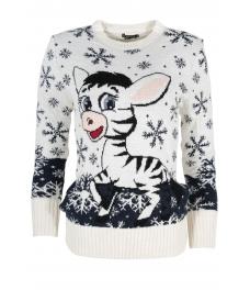Дамски пуловер Christmas А-6 бял
