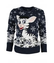 Дамски пуловер Christmas А-6 тъмно син