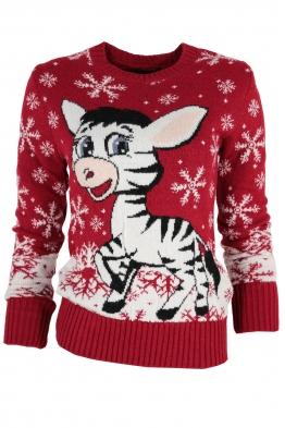 Дамски пуловер Christmas А-6 червен