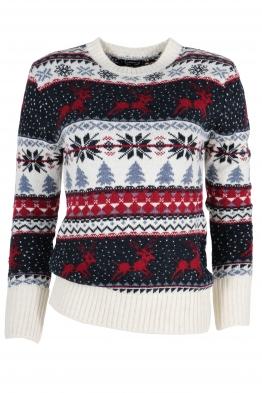 Дамски пуловер Christmas А-7 бял