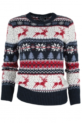 Дамски пуловер Christmas А-7 тъмно син
