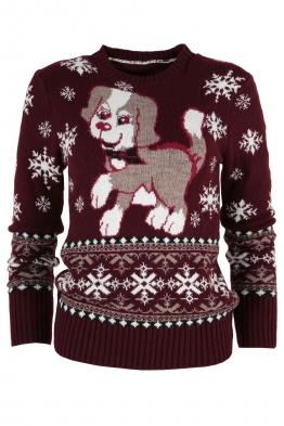 Дамски пуловер Christmas А-8 марсала