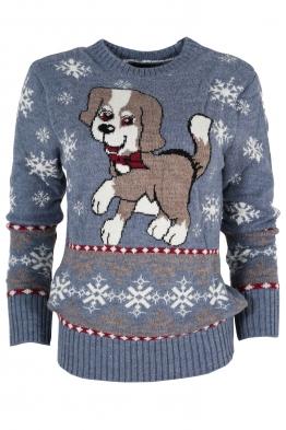Дамски пуловер Christmas А-8 син