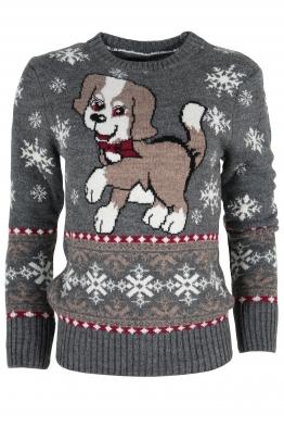 Дамски пуловер Christmas А-8 тъмно сив