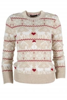 Дамски пуловер Christmas А-9 бежов