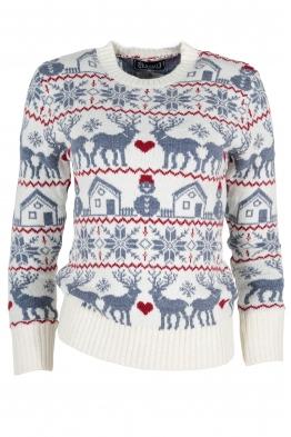 Дамски пуловер Christmas А-9 бял със сини елени