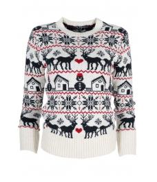 Дамски пуловер Christmas А-9 бял с тъмно сини елени