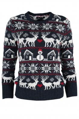 Дамски пуловер Christmas А-9 тъмно син