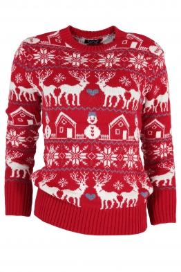 Дамски пуловер Christmas А-9 червен