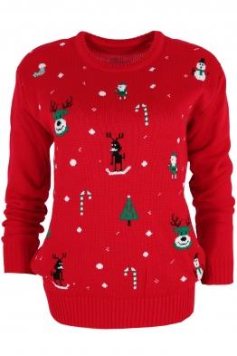 Дамски пуловер Christmas V-1 червен