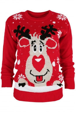 Дамски пуловер Christmas V-3 червен
