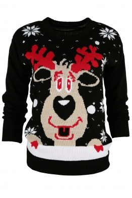 Дамски пуловер Christmas V-3 черен