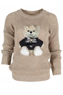 Дамски пуловер HAPPY BEAR бежов