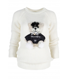 Дамски пуловер HAPPY BEAR бял