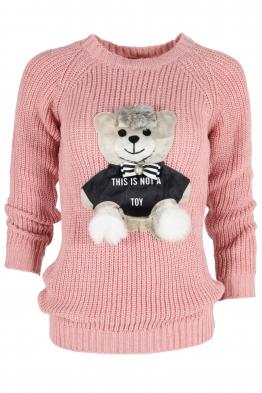 Дамски пуловер HAPPY BEAR розов