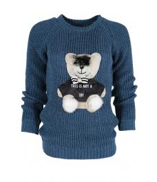 Дамски пуловер HAPPY BEAR син