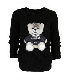 Дамски пуловер HAPPY BEAR черен