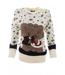 Дамски пуловер Christmas А-1 бял