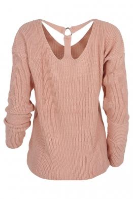 Дамски пуловер 422 с ефектен гръб