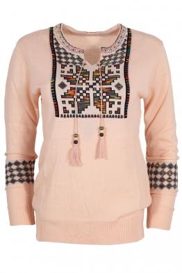 Дамски пуловер 405-8 розов