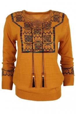 Дамски пуловер 407-8 горчица