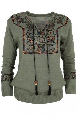 Дамски пуловер 407-8 зелен