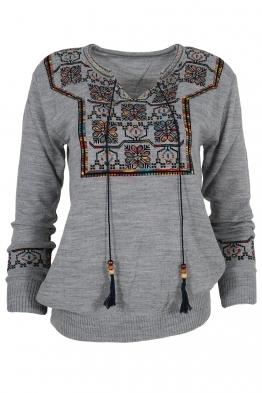 Дамски пуловер 407-8 сив