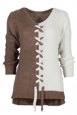Дамски пуловер DUO капучино-бял
