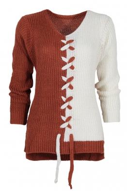 Дамски пуловер DUO керемида-бял