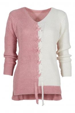 Дамски пуловер DUO розов-бял
