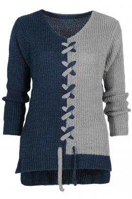 Дамски пуловер DUO син-сив
