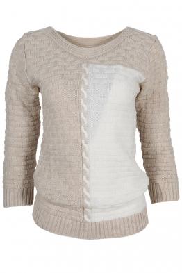 Дамски пуловер DUO A-1 бежов с бяло