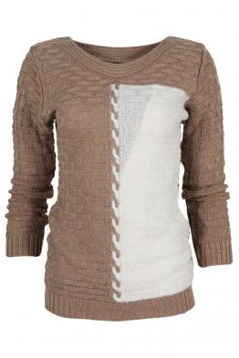 Дамски пуловер DUO A-1 капучино с бяло
