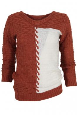 Дамски пуловер DUO A-1 керемида с бяло