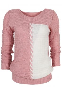 Дамски пуловер DUO A-1 розов с бяло