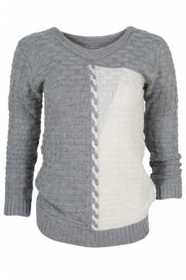 Дамски пуловер DUO A-1 сиво с бяло