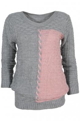 Дамски пуловер DUO A-1 сиво с розово