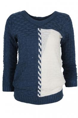 Дамски пуловер DUO A-1 синьо с бяло