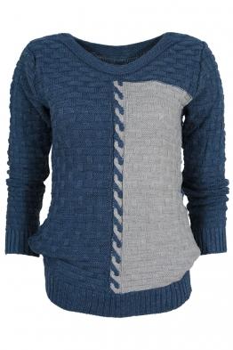 Дамски пуловер DUO A-1 синьо със сиво