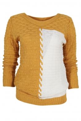 Дамски пуловер DUO A-1 горчица с бяло