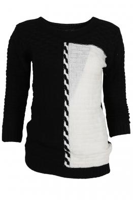 Дамски пуловер DUO A-1черно с бяло