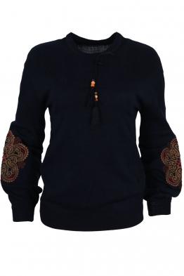 Дамски пуловер 123-8 тъмно син