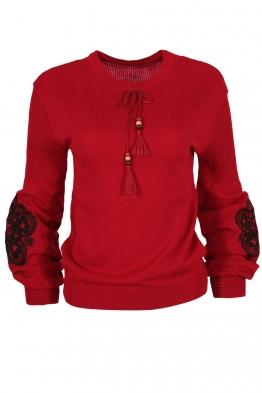 Дамски пуловер 123-8 червен