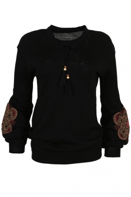 Дамски пуловер 123-8 черен