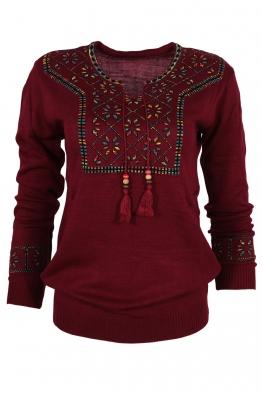 Дамски пуловер 136-8 бордо