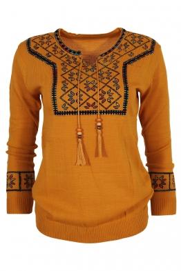 Дамски пуловер 136-8 горчица